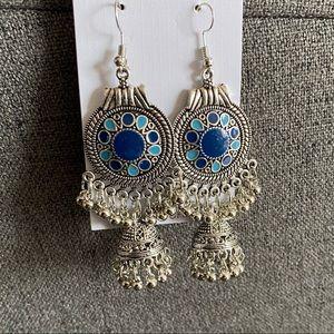 Blue boho earrings
